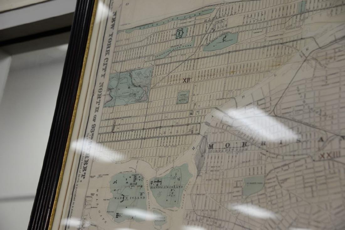 "Large framed map, ""New York City North of 93rd Street"", - 5"