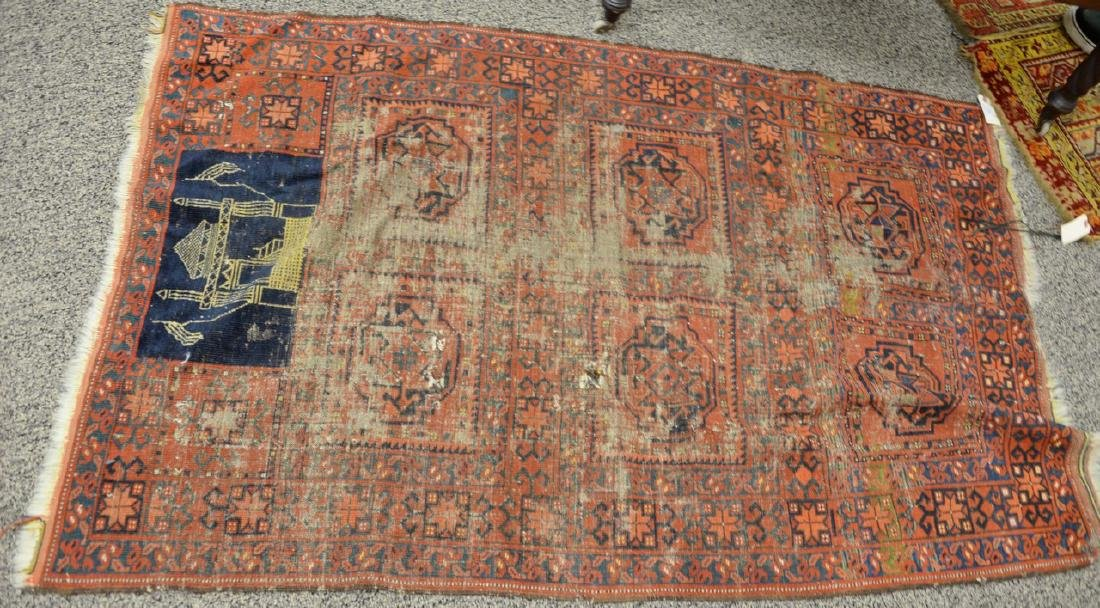 Unusual Bokhara Oriental throw rug with mosque flying