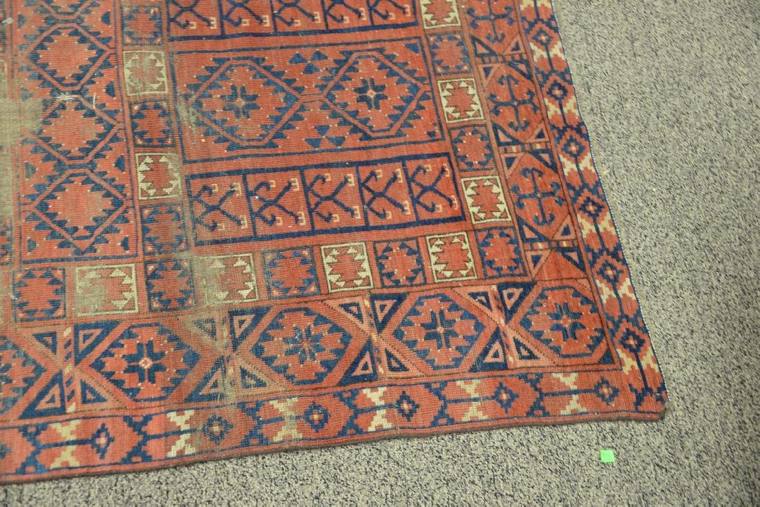 "Two Bokhara Oriental throw rugs (worn).  (4' x 5'4"") - 2"