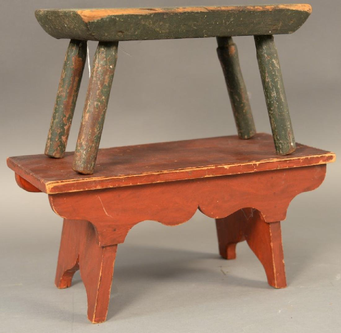 Two primitive stools, one with turned leg in old green