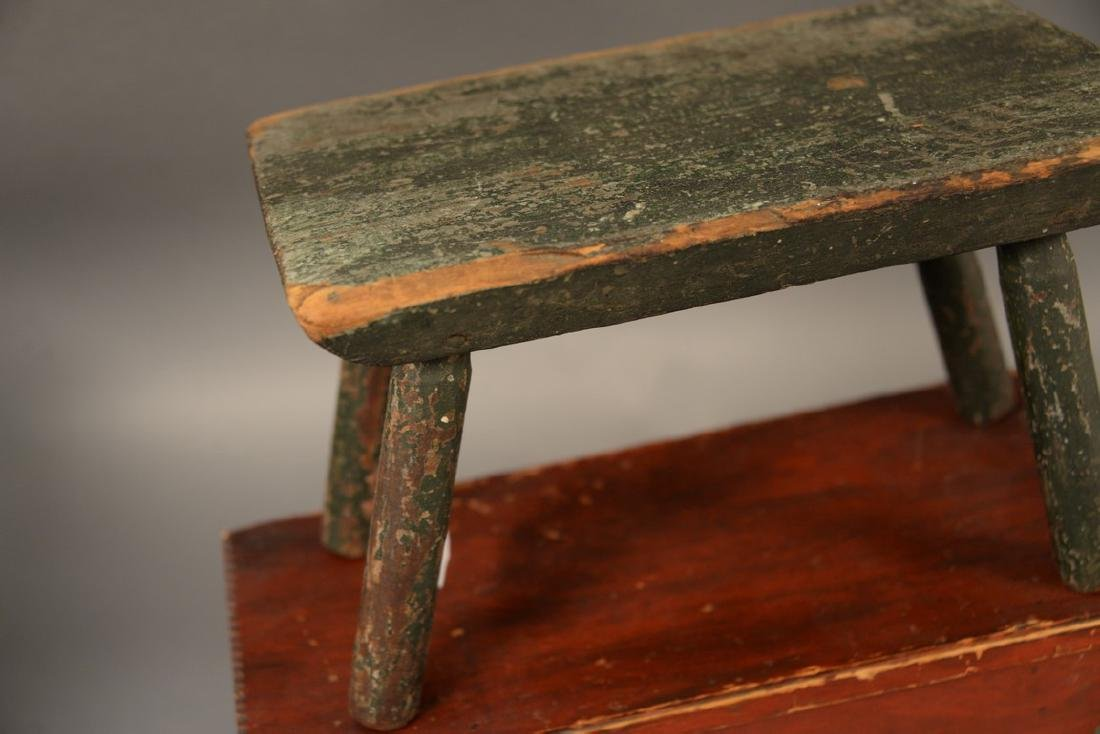 Two primitive stools, one with turned leg in old green - 2