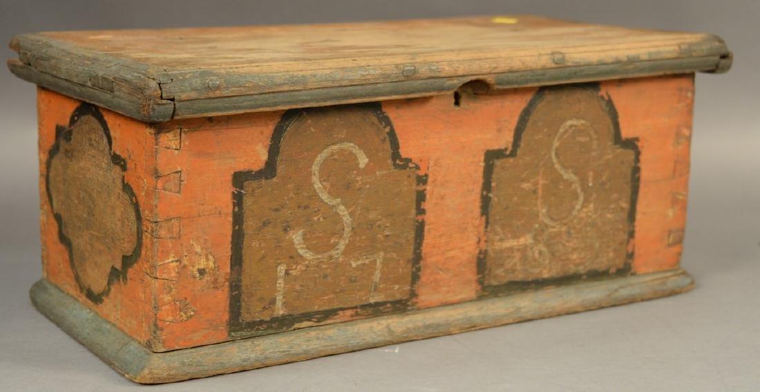 Small 18th century lift top box painted salmon, light