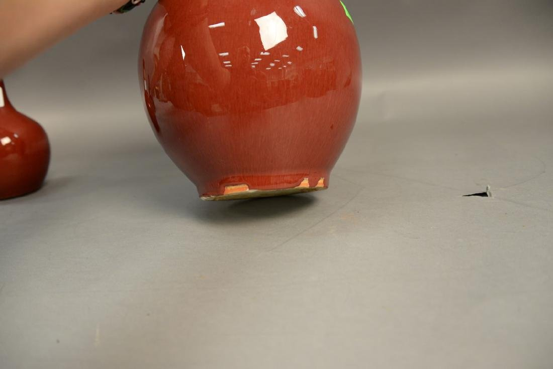 Chinese sang de beouf globular vase, oxblood red with - 3
