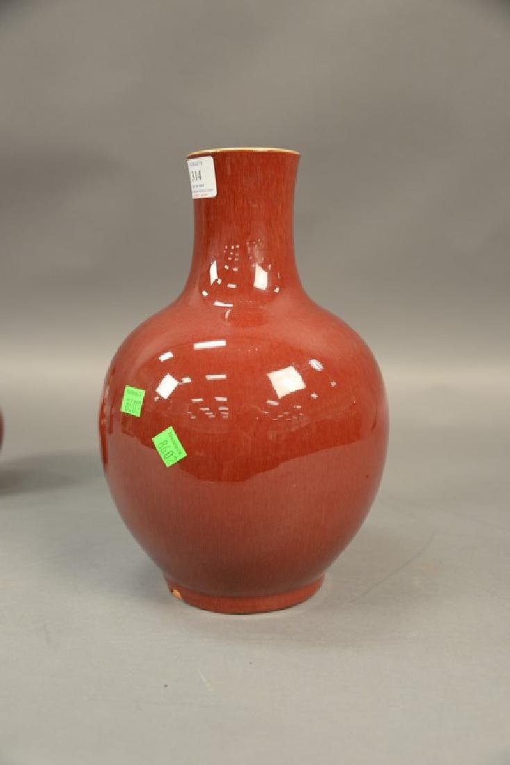 Chinese sang de beouf globular vase, oxblood red with - 5
