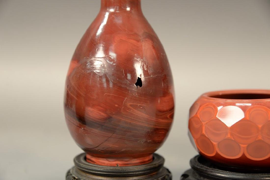 Three red agate pieces to include a pair of pear shaped - 2