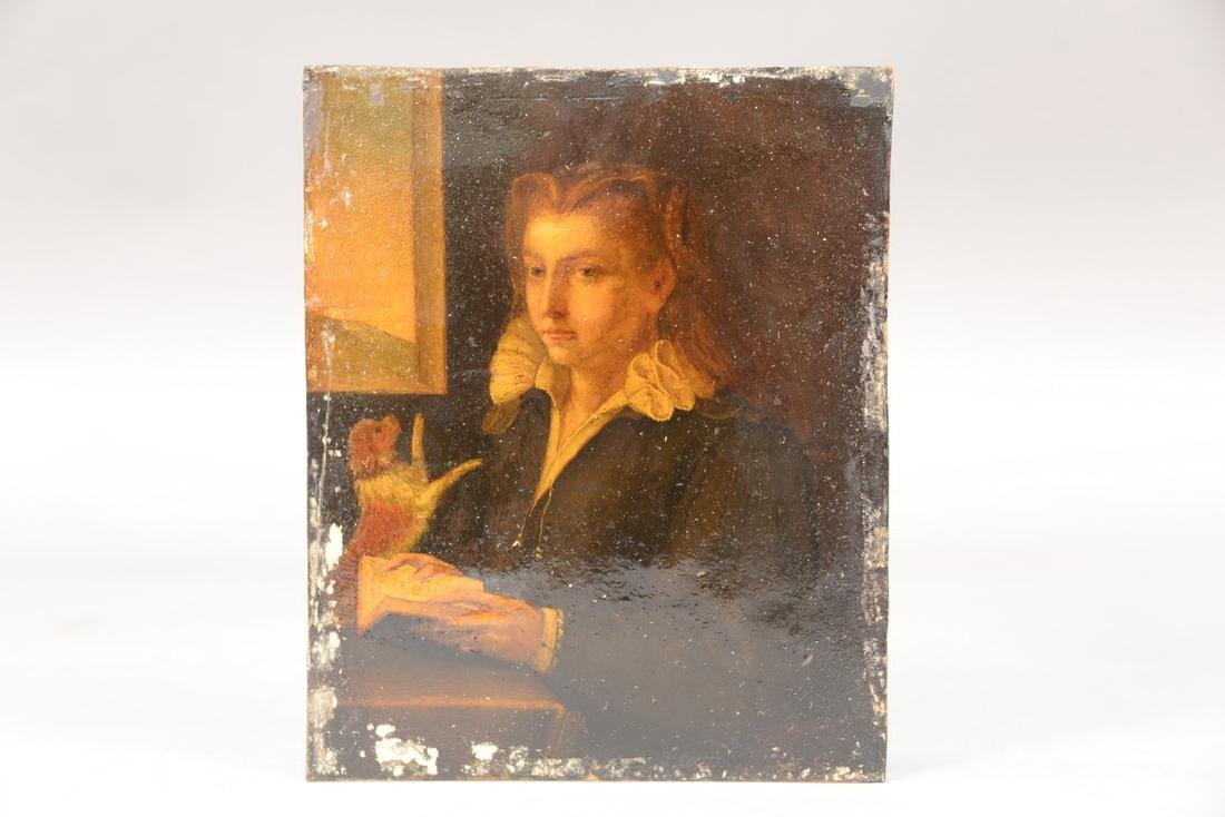 Portrait  oil on copper  Girl with her Dog Reading by - 3