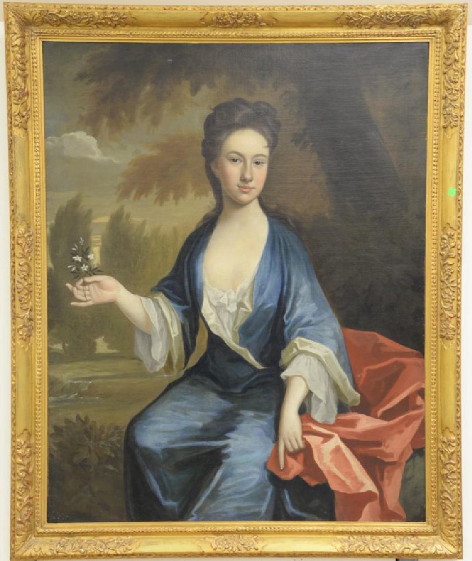 Large 19th century portrait  oil on canvas  Woman