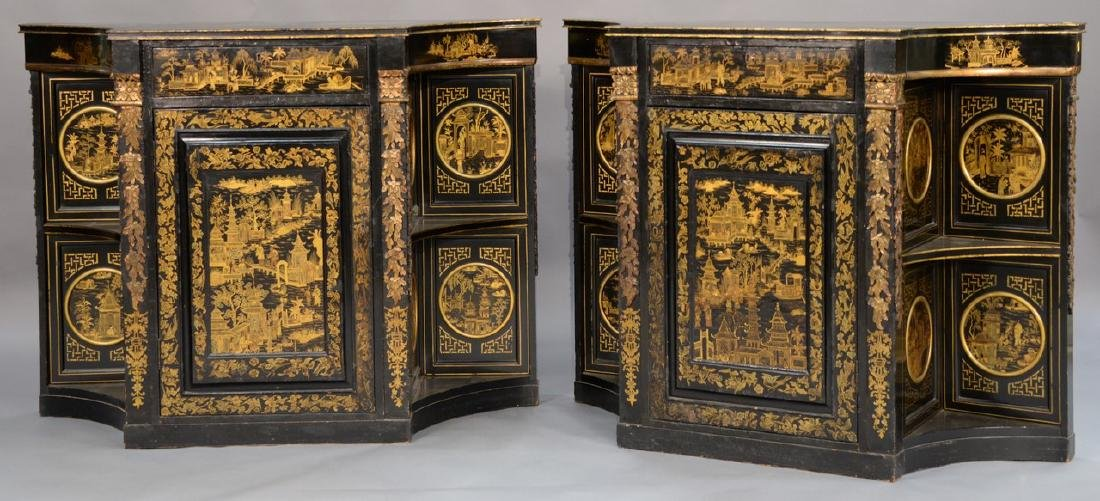 Pair of lacquered Chinese side cabinets having shaped