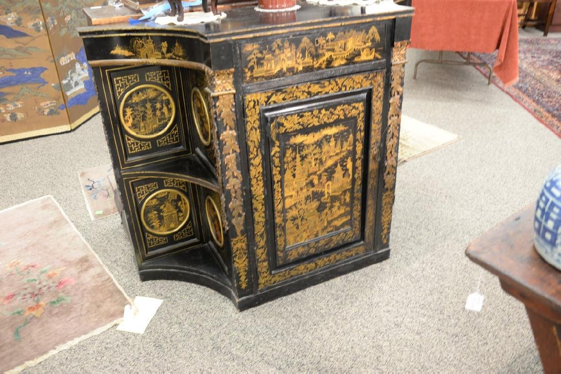 Pair of lacquered Chinese side cabinets having shaped - 2