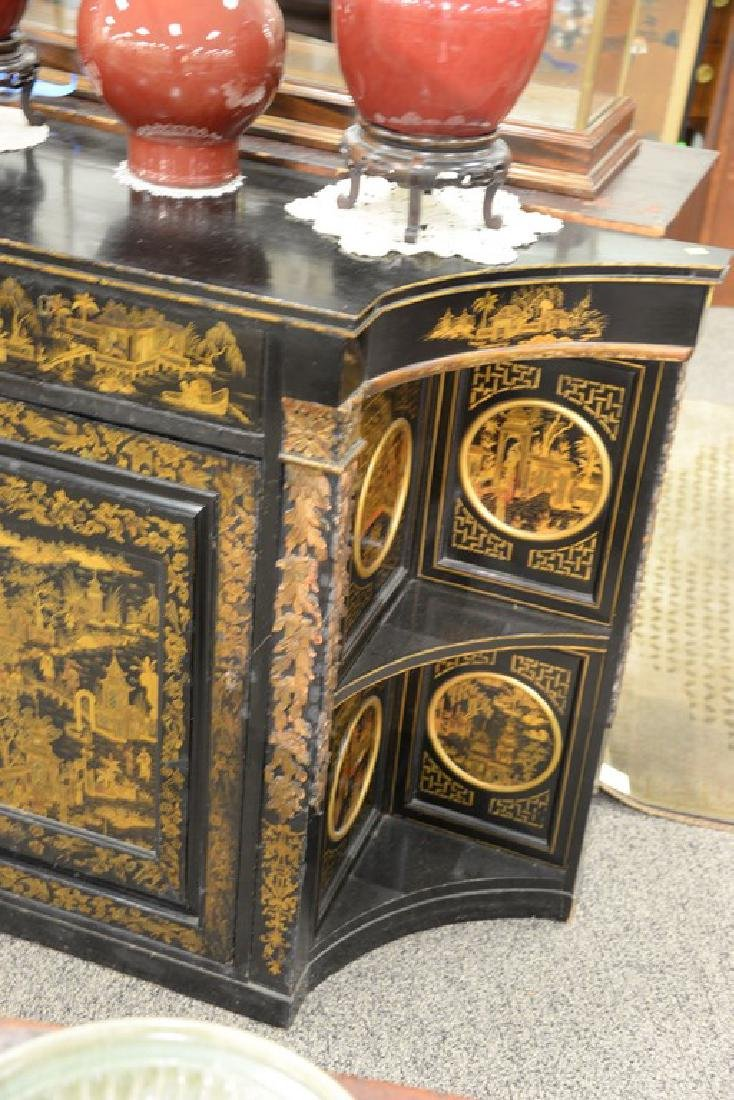 Pair of lacquered Chinese side cabinets having shaped - 4