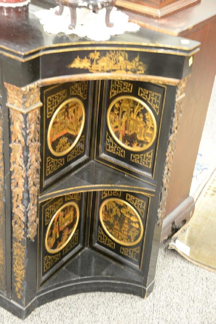 Pair of lacquered Chinese side cabinets having shaped - 5