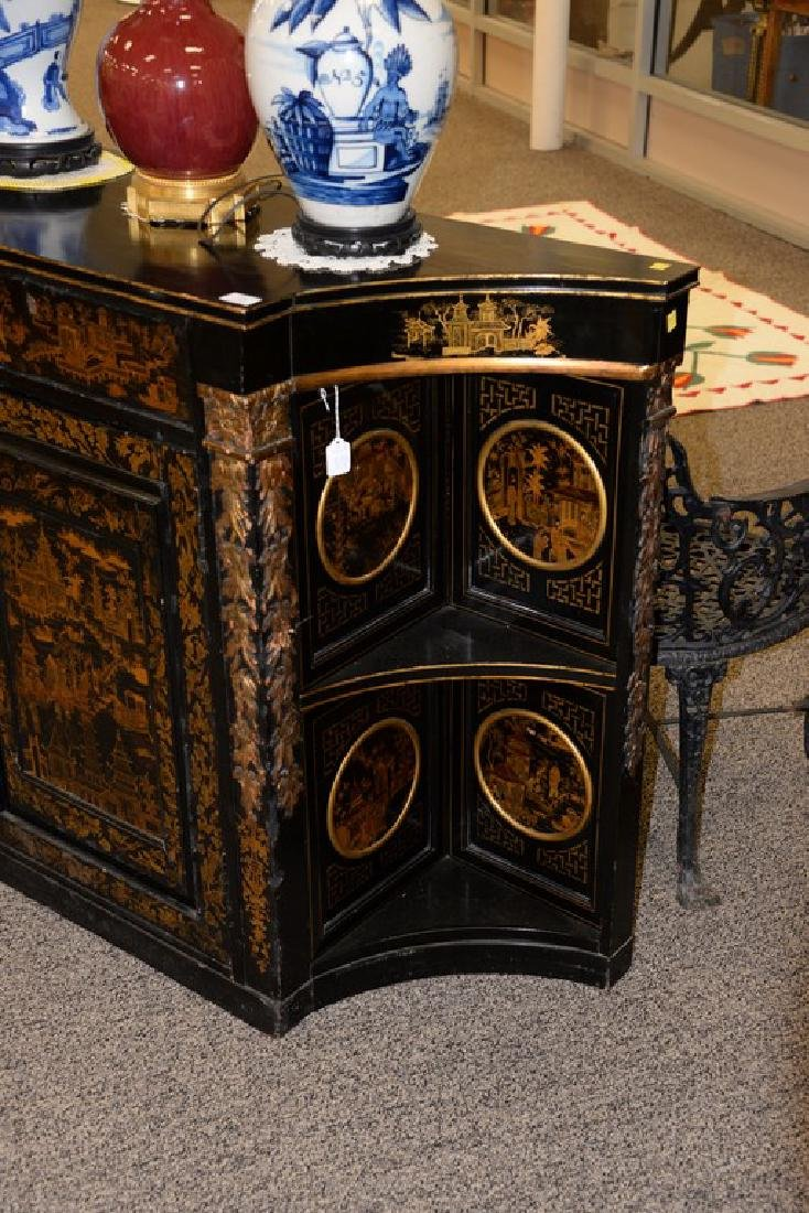 Pair of lacquered Chinese side cabinets having shaped - 6