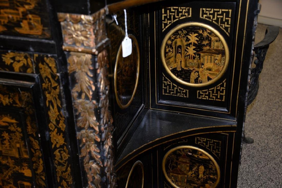 Pair of lacquered Chinese side cabinets having shaped - 7