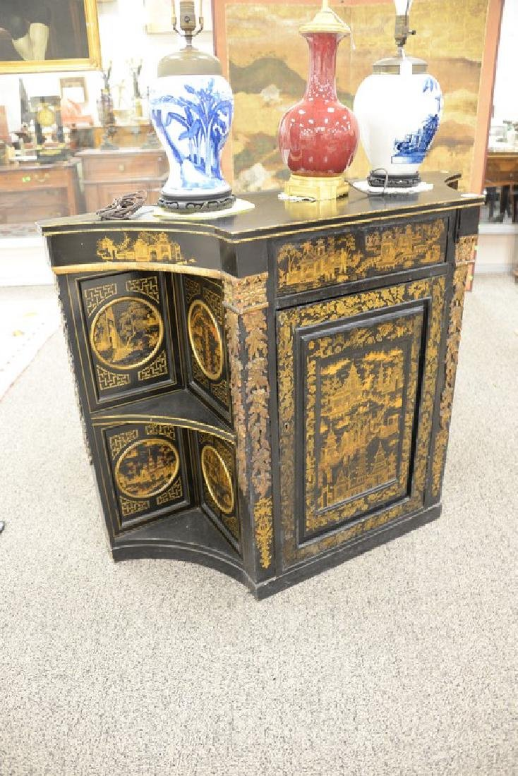 Pair of lacquered Chinese side cabinets having shaped - 8