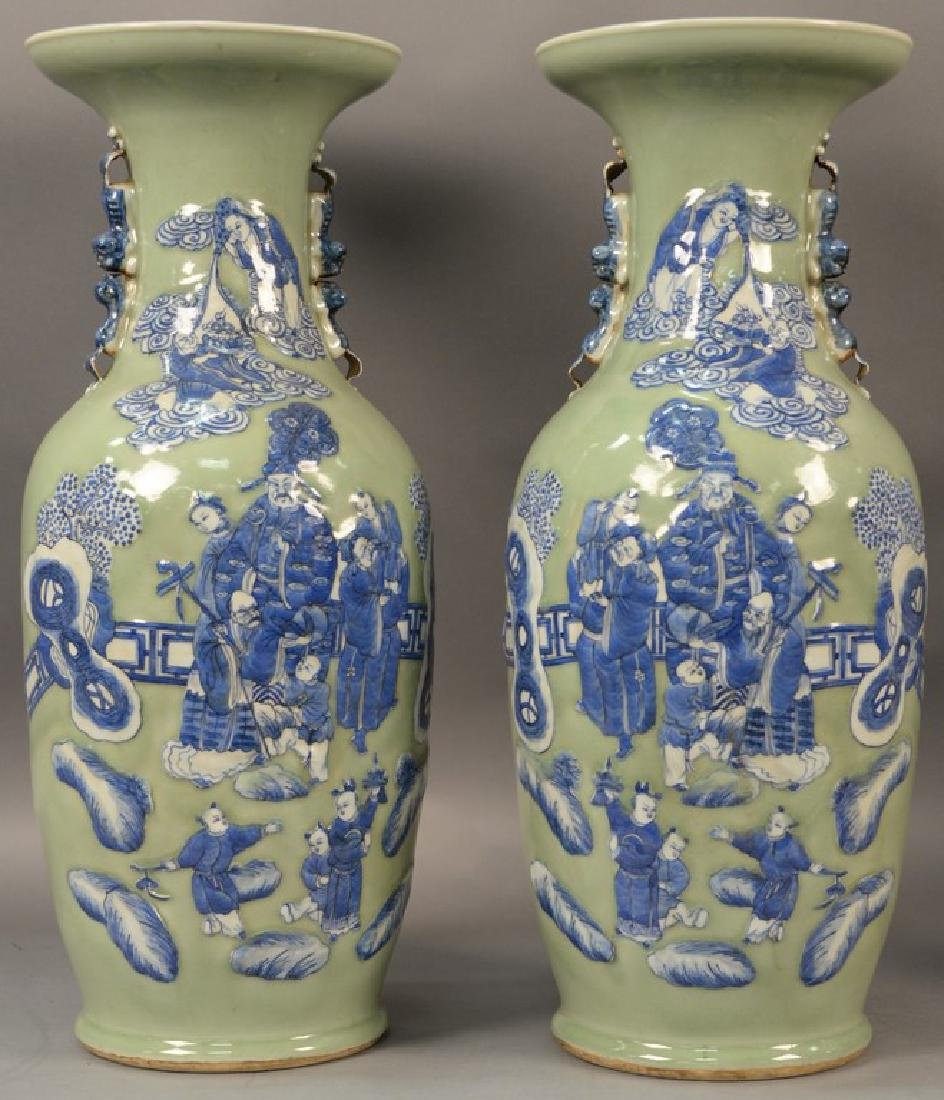 Pair of large Chinese celadon and blue palace vases