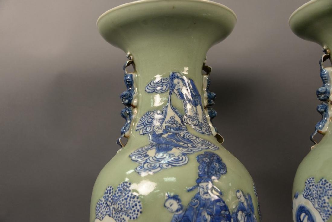 Pair of large Chinese celadon and blue palace vases - 2