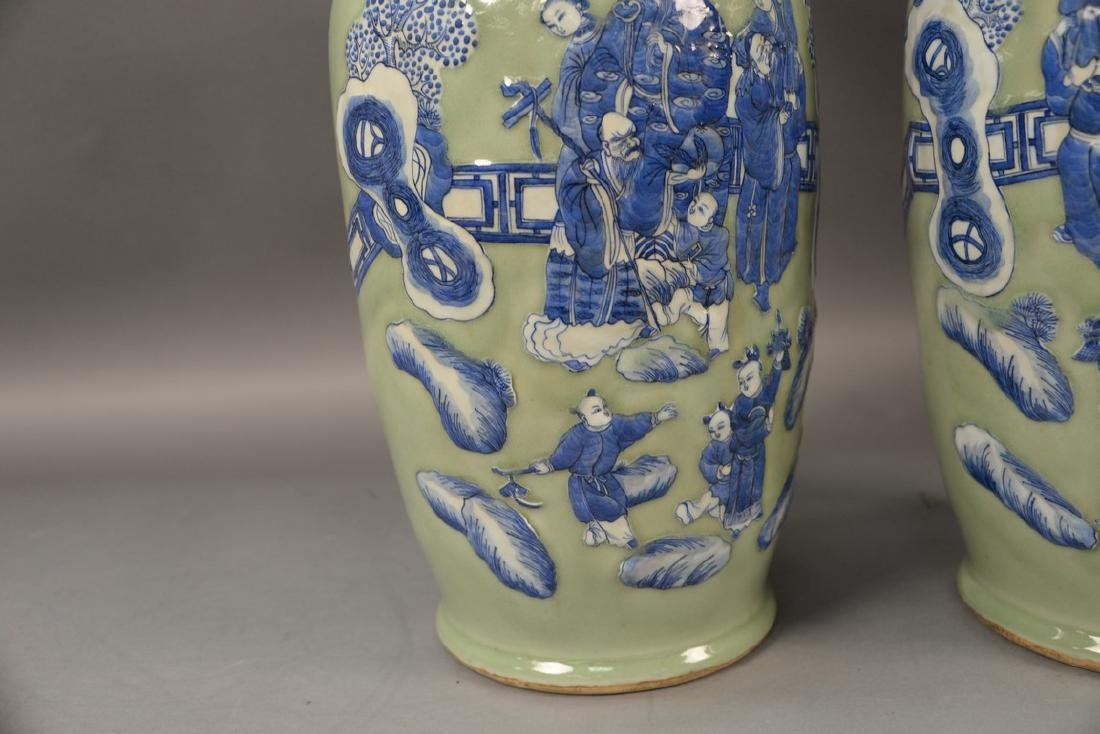 Pair of large Chinese celadon and blue palace vases - 3