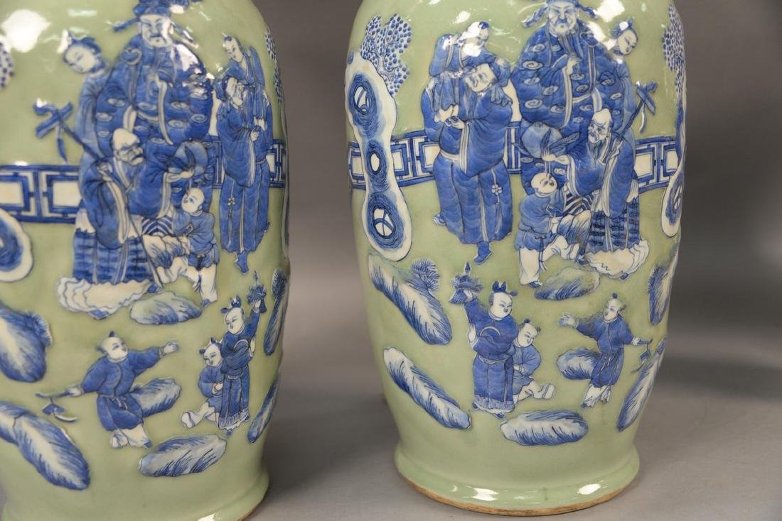 Pair of large Chinese celadon and blue palace vases - 4