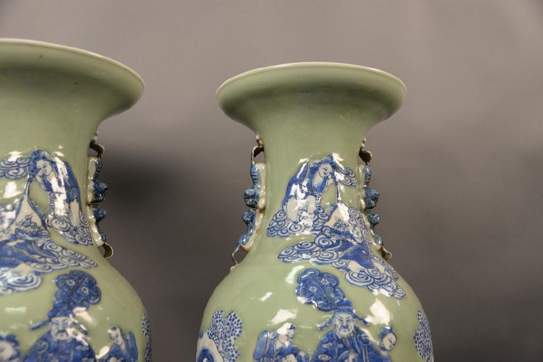Pair of large Chinese celadon and blue palace vases - 5