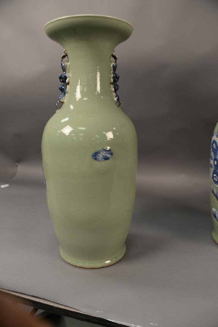 Pair of large Chinese celadon and blue palace vases - 6
