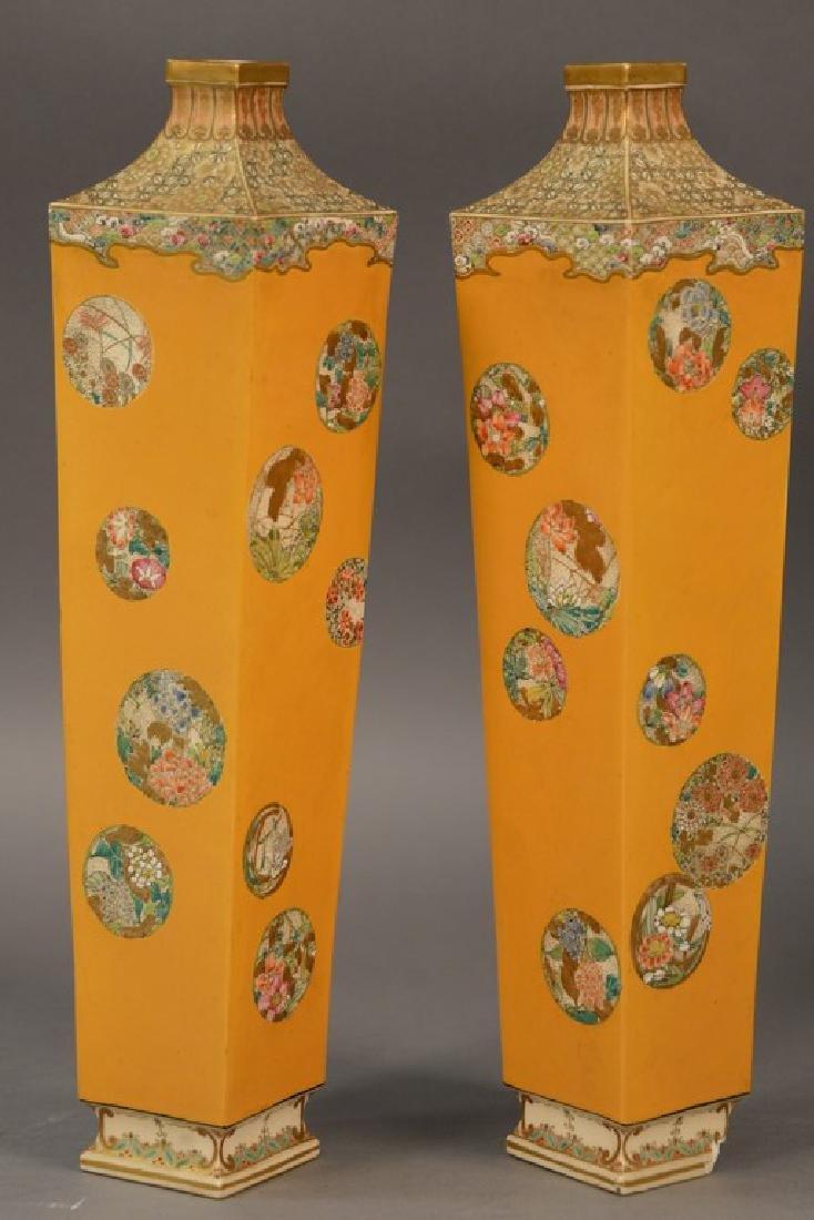Pair of Satsuma vases having tall slender square form,