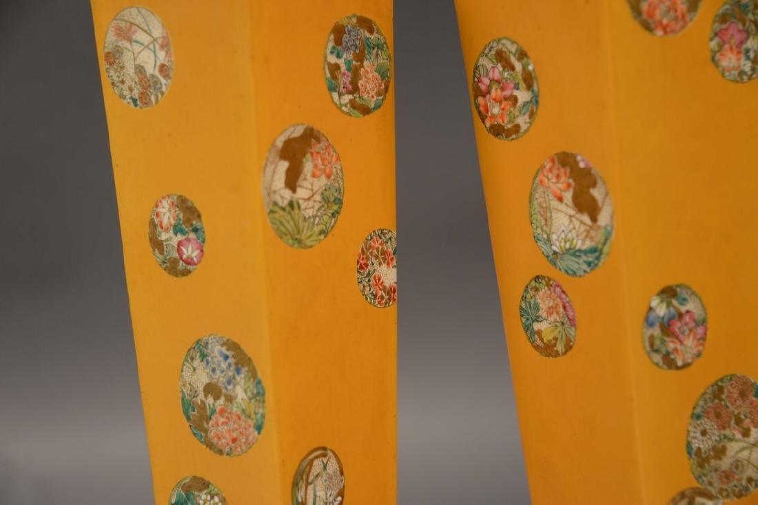Pair of Satsuma vases having tall slender square form, - 2