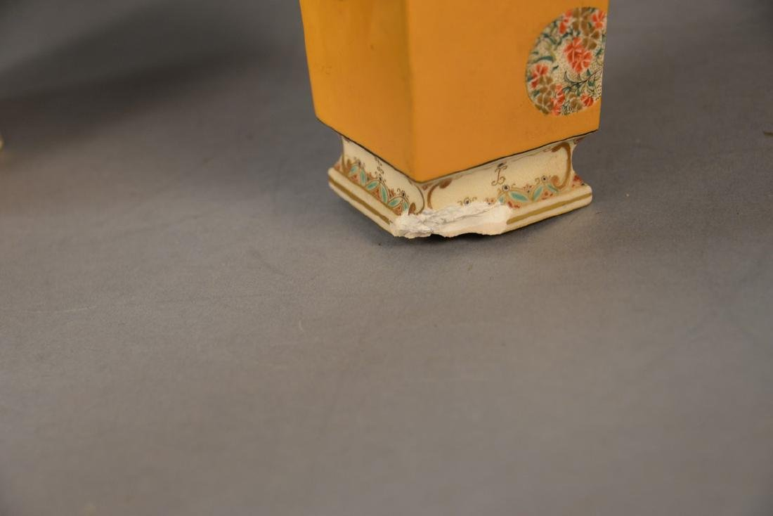 Pair of Satsuma vases having tall slender square form, - 3