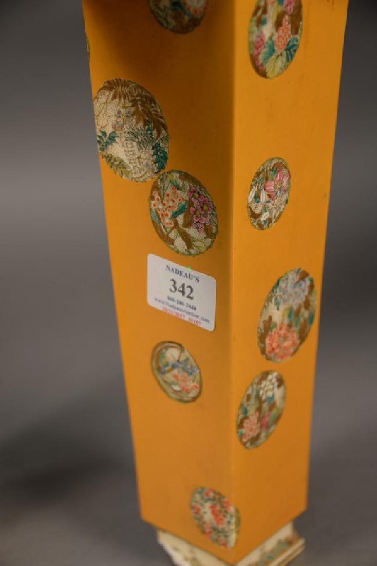 Pair of Satsuma vases having tall slender square form, - 4