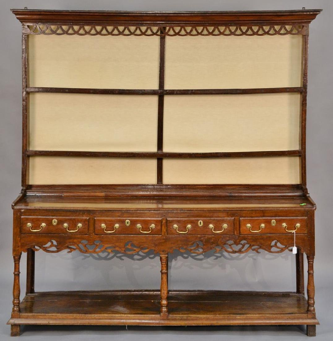 Welsh cupboard in two parts, upper portion having