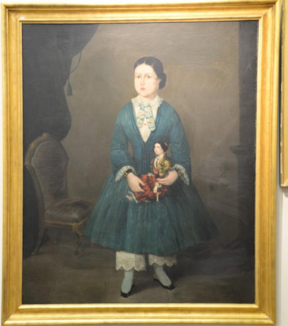 19th century full length interior portrait  oil on