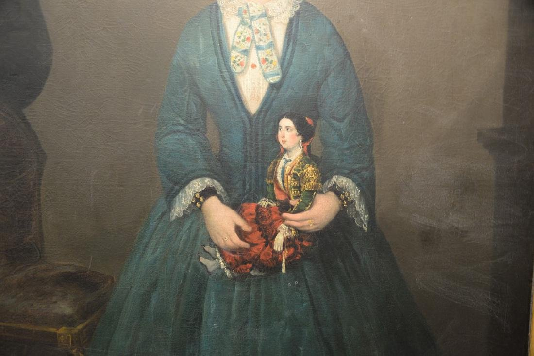 19th century full length interior portrait  oil on - 3