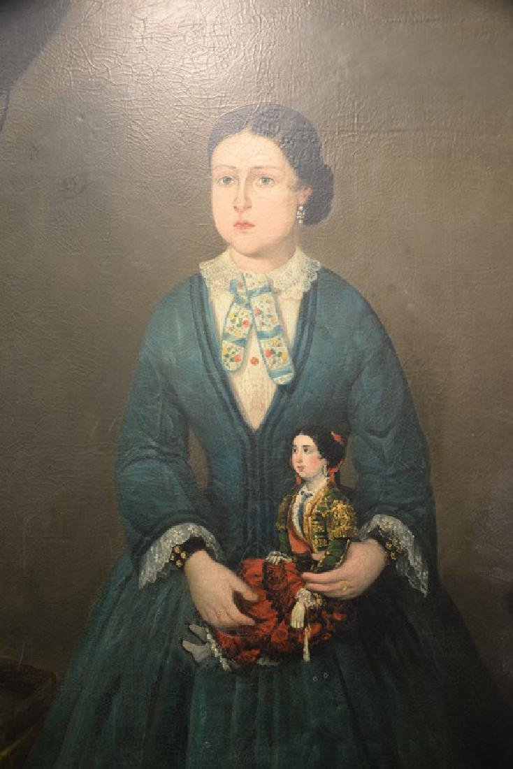 19th century full length interior portrait  oil on - 4