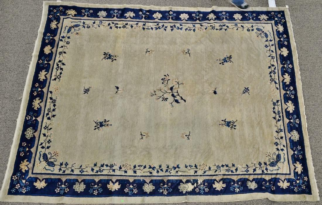 Peking Chinese Oriental carpet (some wear and damage).