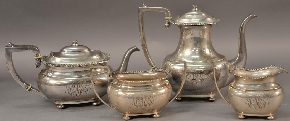 Gorham sterling silver four piece tea and coffee set.