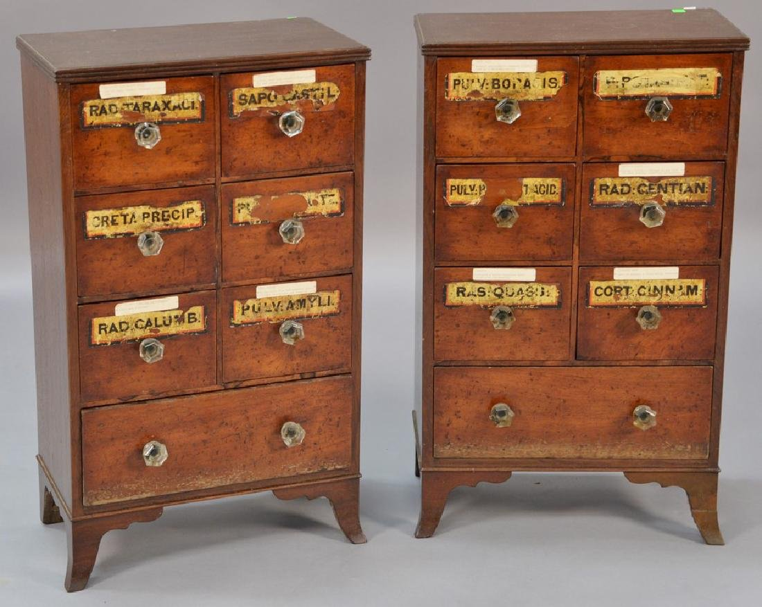 Pair of small mahogany spice chests, each with six