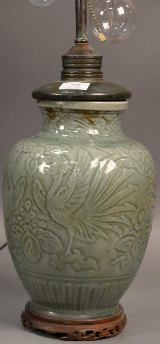 Large celadon glazed porcelain vase with incised