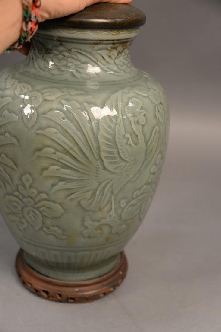Large celadon glazed porcelain vase with incised - 4