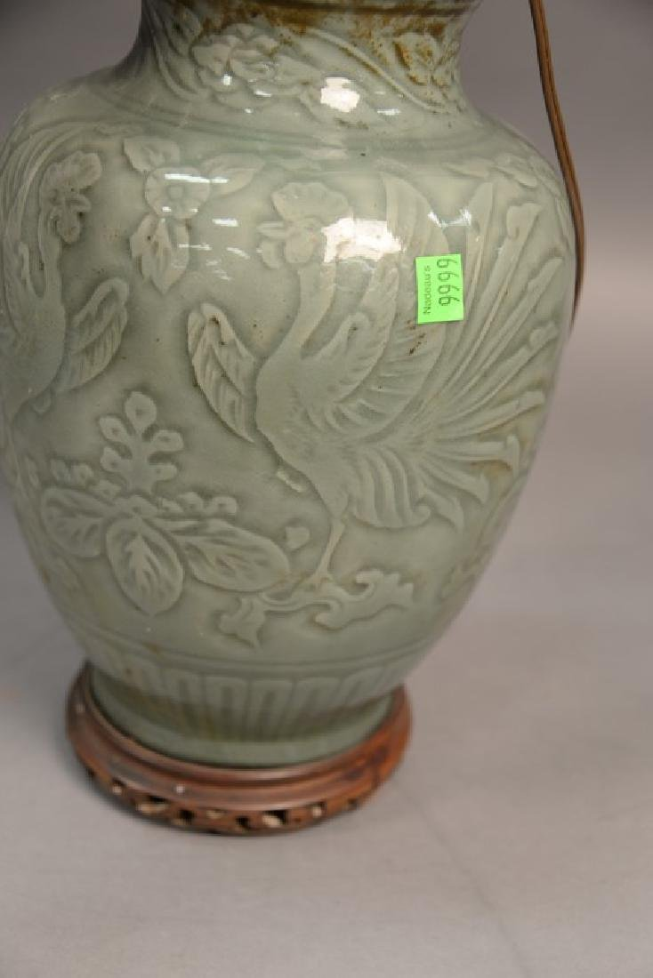 Large celadon glazed porcelain vase with incised - 5