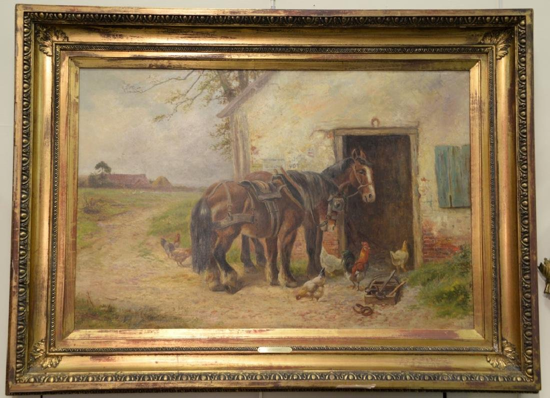 Oil on canvas  Barnyard with Two Working Horses and
