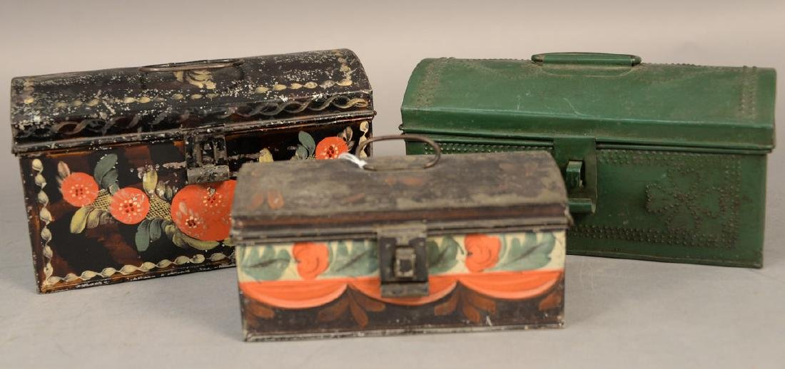 Three tole or tin lift top boxes, two painted with