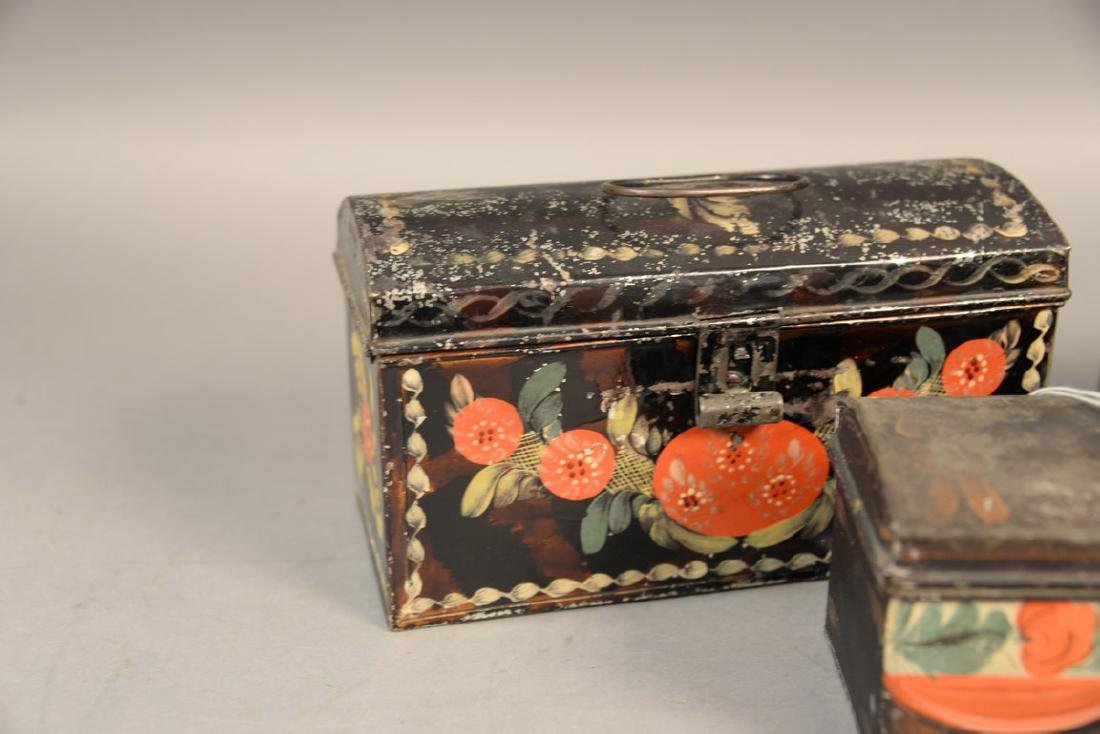 Three tole or tin lift top boxes, two painted with - 2