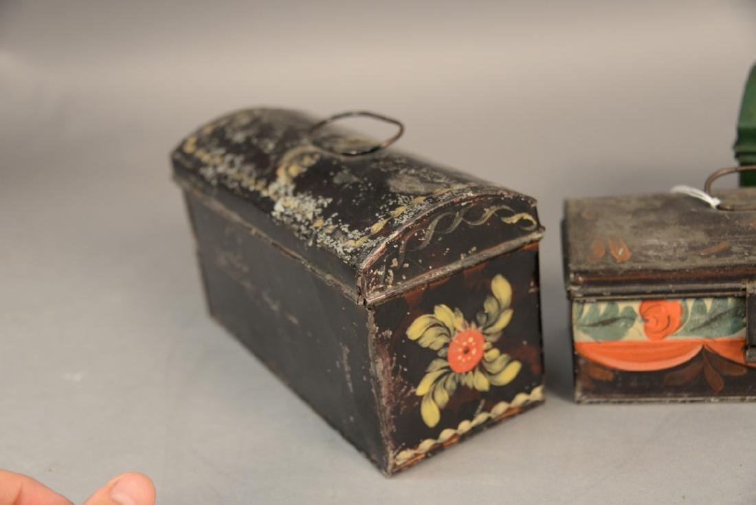 Three tole or tin lift top boxes, two painted with - 3