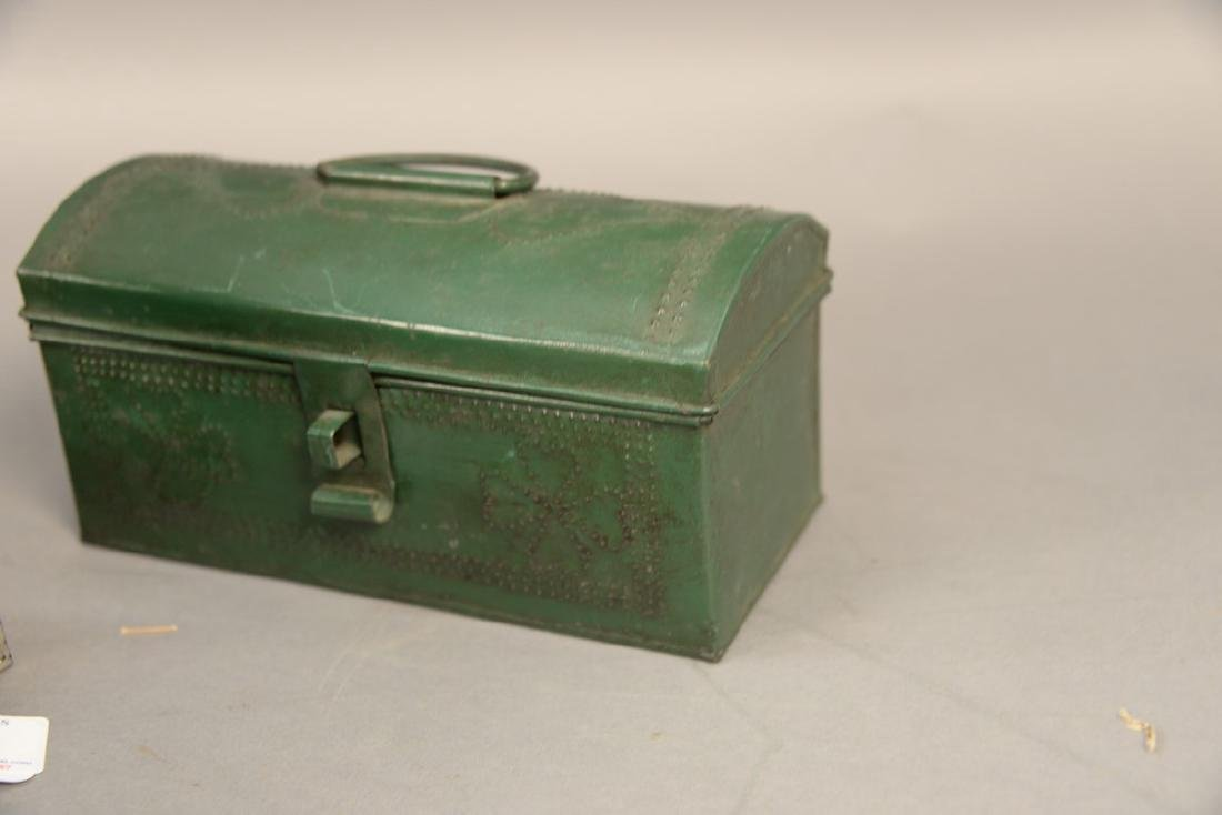 Three tole or tin lift top boxes, two painted with - 5
