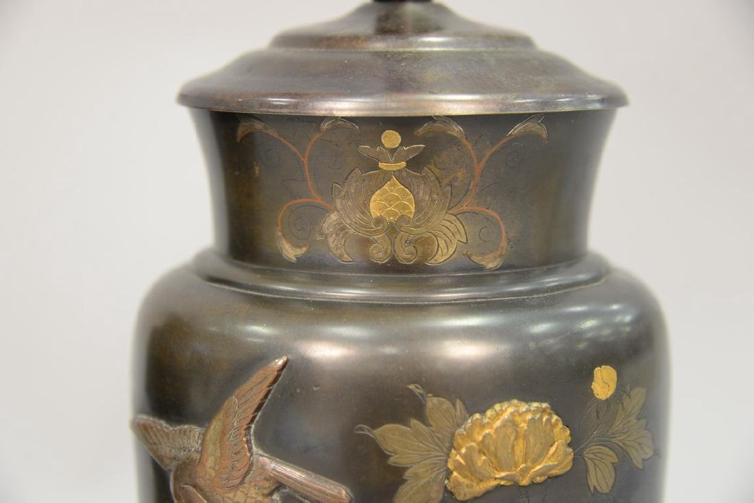 Pair of Japanese mixed metal baluster vases, decorated - 8