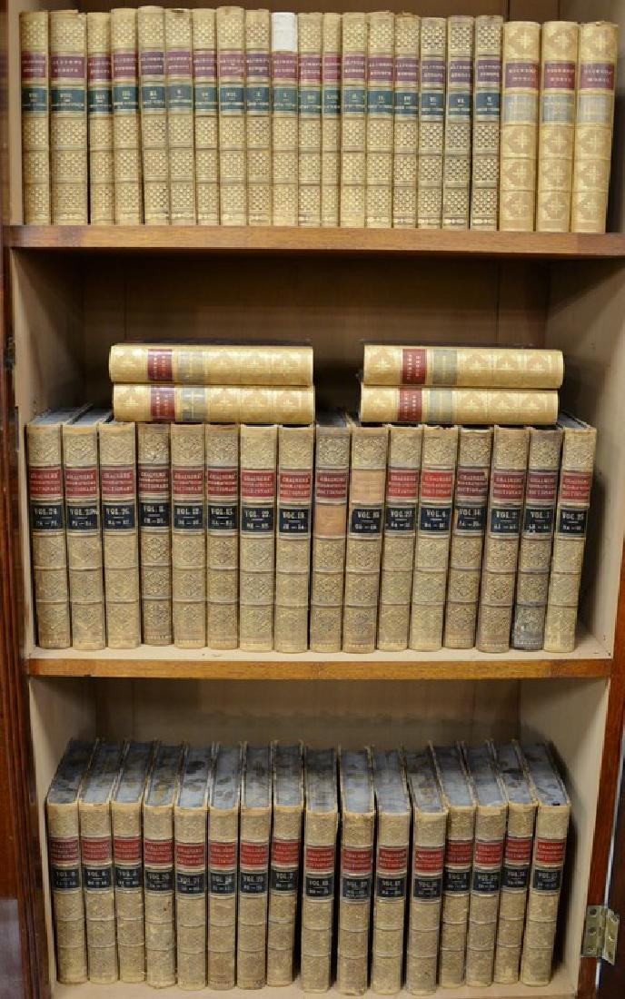 Fifty-seven leatherbound books including Sir Archibald,