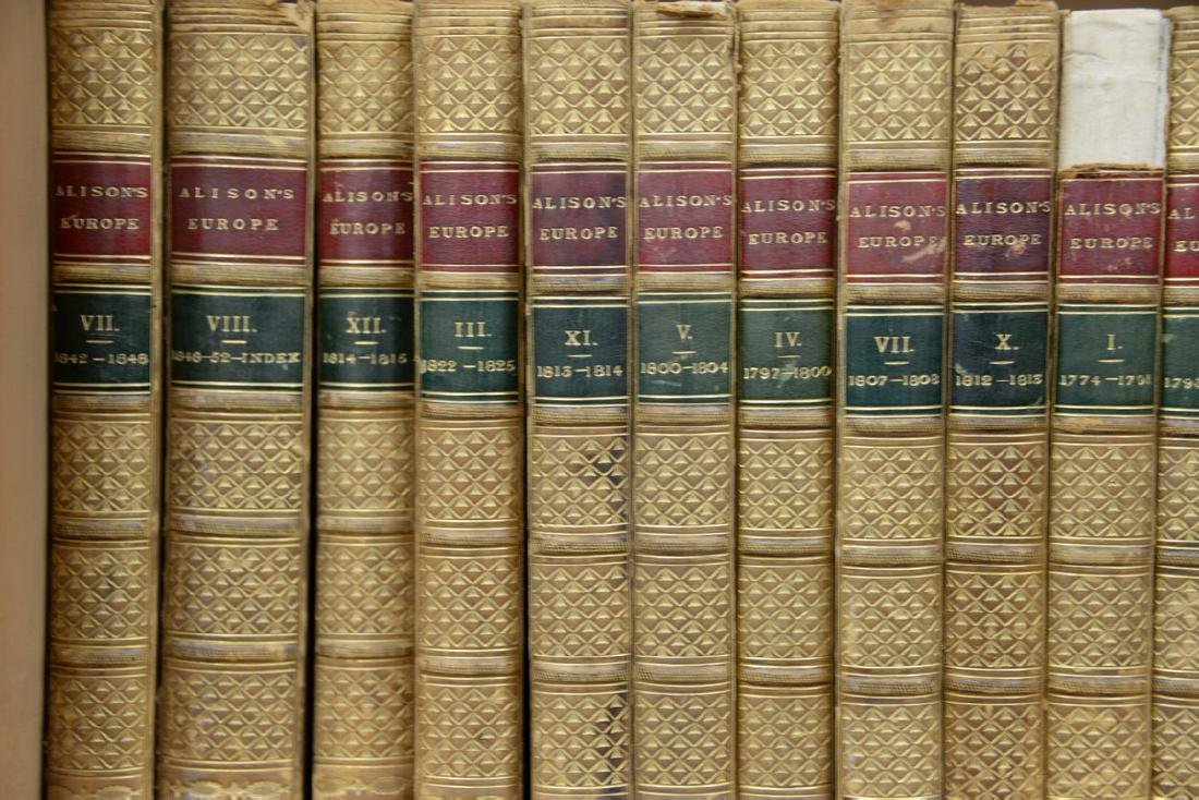 Fifty-seven leatherbound books including Sir Archibald, - 2