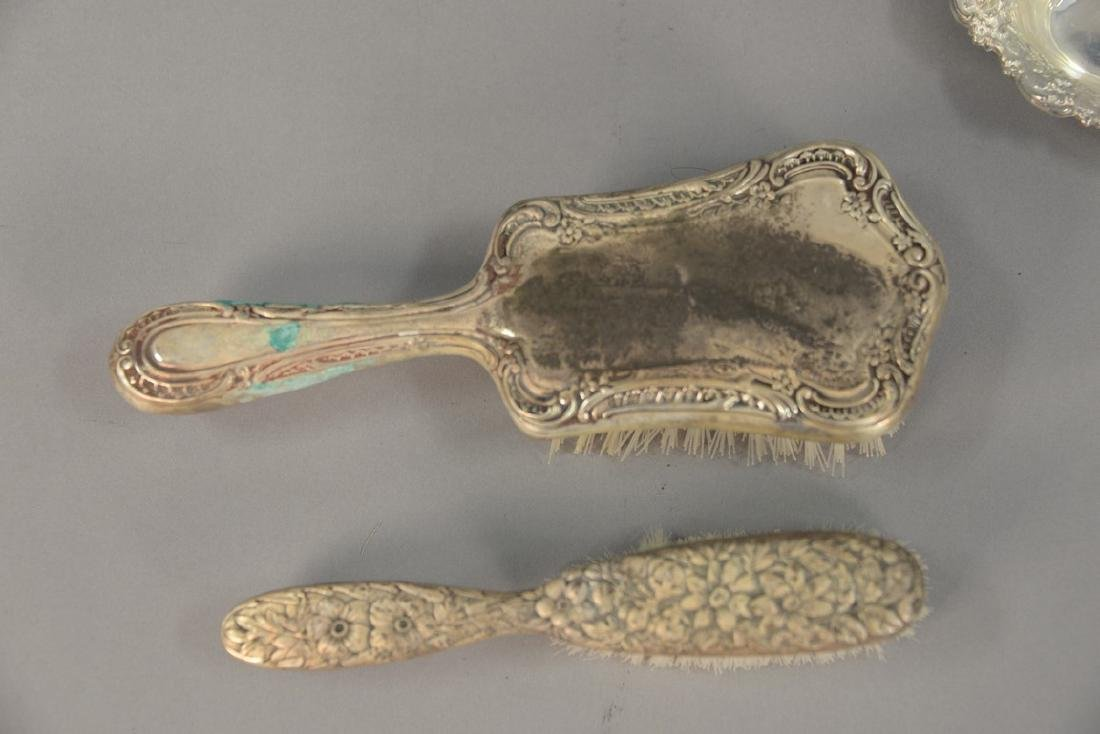 Tray lot with sterling silver dresser set pieces - 2