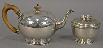 Two piece sterling silver partial tea set to include a
