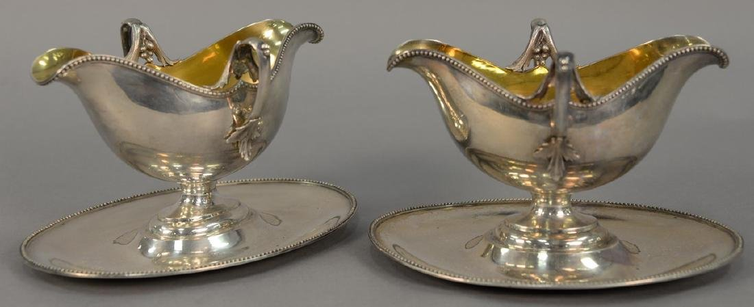 Pair of Lazarus Posen silver gravy boats with gold wash
