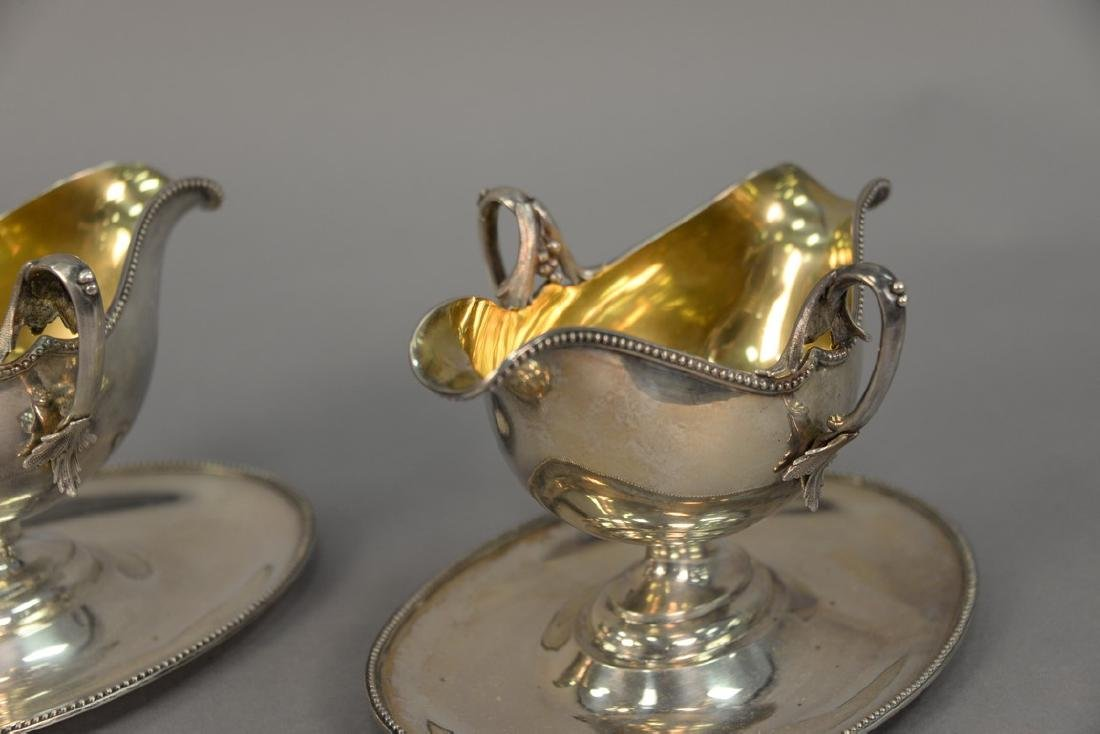 Pair of Lazarus Posen silver gravy boats with gold wash - 3